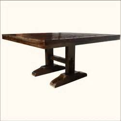 60 square rustic dining room table for 8 solid wood trestle pedestal