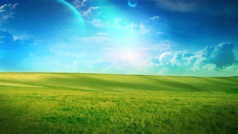 blue sky grass field planets desktop pc  mac