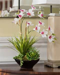 Gems For Vases Lifelike Dendrobium Orchids Amp Succulents Accent Planter At