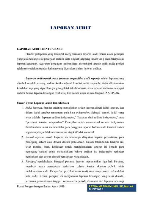 format laporan audit operasional laporan audit bentu baku