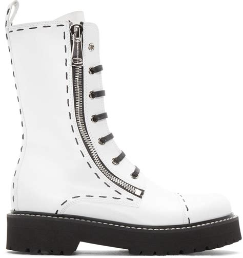 dolce gabbana white leather combat boots in white lyst