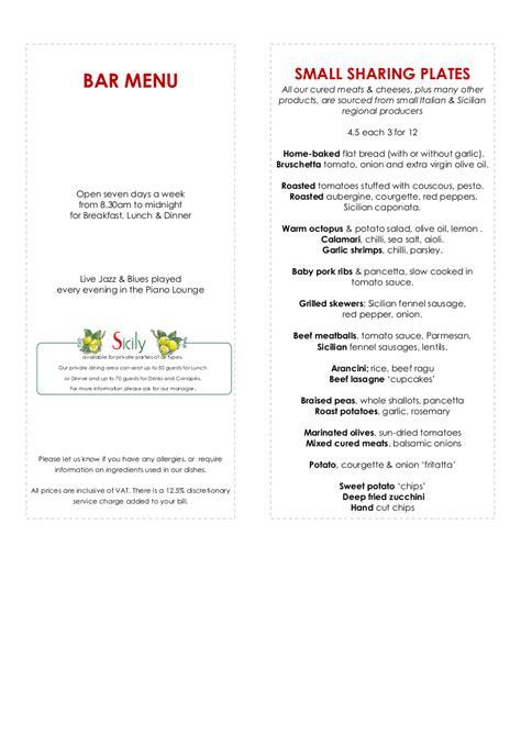 bar menu sicily italian restaurant bar menu