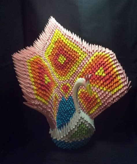 How To Make A 3d Peacock Out Of Paper - 3d origami peacock pink by xanokah on deviantart