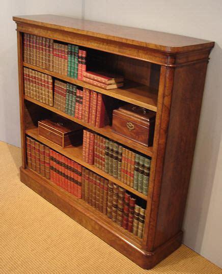 Antique bookcase / Victorian walnut open front bookcase