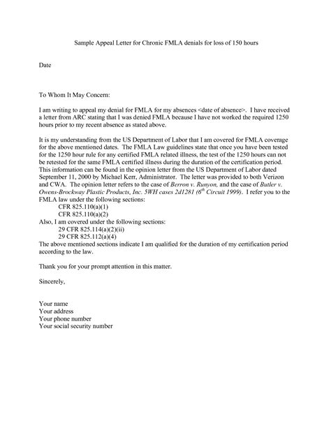 Work Appeal Letter Template fmla cover letters template best curriculum vitae sle