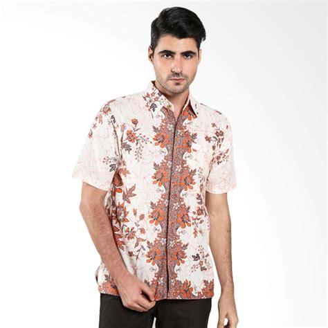 Batik Trusmi Hem Bunga jual batik trusmi hem motif bunga orange putih batik pria harga kualitas