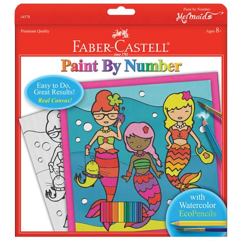 faber castell paint by number kit mermaids with watercolor pencils jo