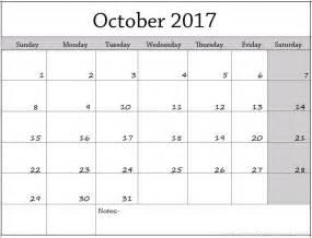 Calendar October 2017 Printable Word October 2017 Calendar Printable