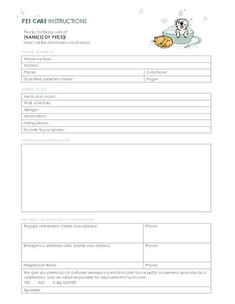 Instructions For Pet Sitter Pet Sitter List Template