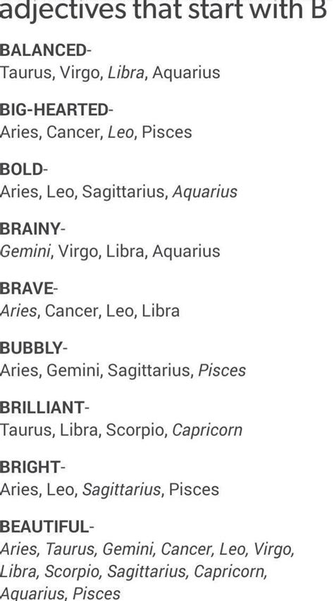 adjectives that start with b zodiac signs zodiac