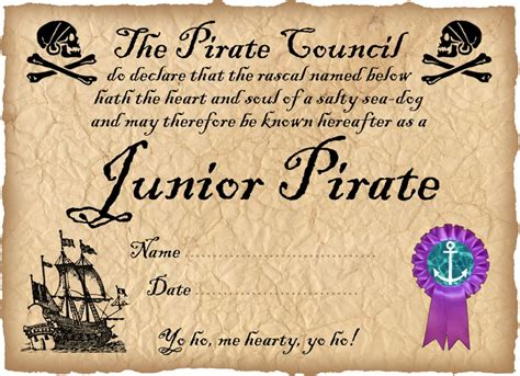 pirate certificate template printable certificate for a junior pirate this site has