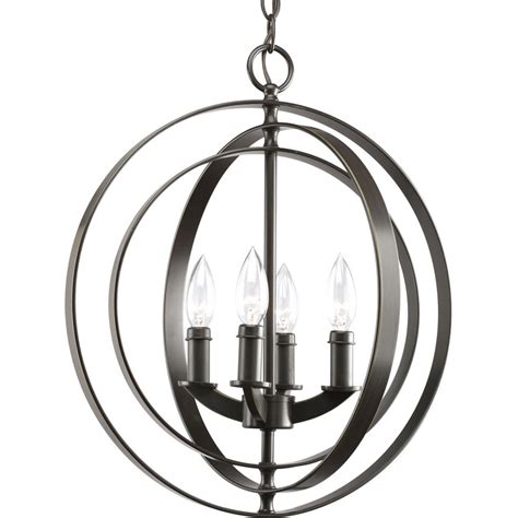 Lowes Foyer Lighting by Shop Progress Lighting Equinox 16 In 4 Light Antique Bronze Globe Chandelier At Lowes