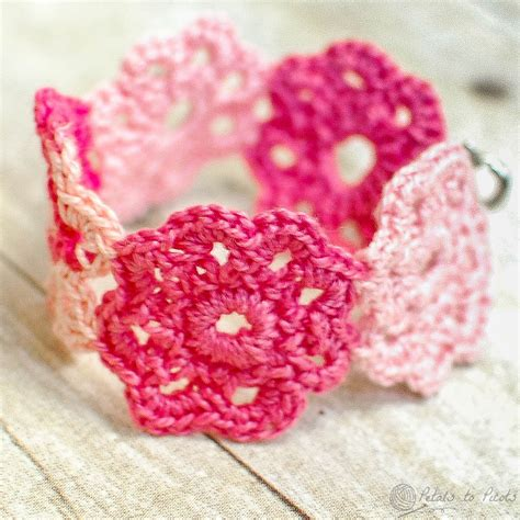 free pattern for crochet flowers crochet flower bracelet petals to picots