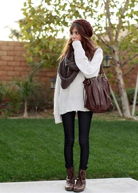 boho cardigan booties style fall winter oversized sweatshirt chunky scarf and leggings beauty