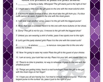 Pass The Prize Baby Shower Poem by Pass The Prize Etsy