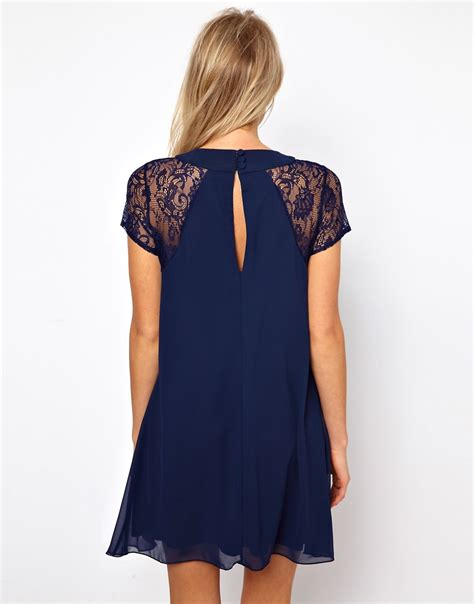 love swing dress love love swing dress with lace insert at asos