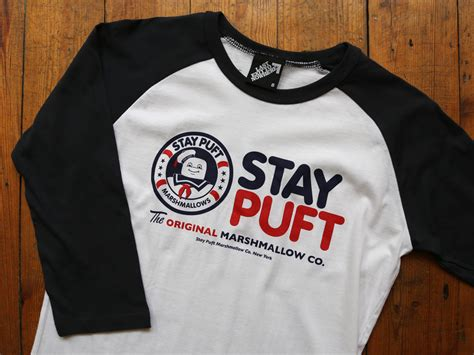 stay puft marshmallow company baseball shirt last exit to nowhere