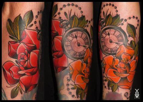 tattoo old school clock clock old school flower tattoo by belly button tattoo shop