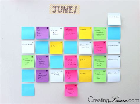 Blue Note Calendar Creating Diy Sticky Note Calendar
