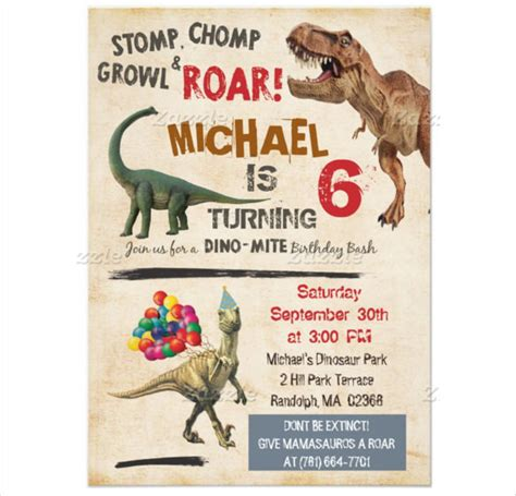 26 dinosaur birthday invitation templates free sle