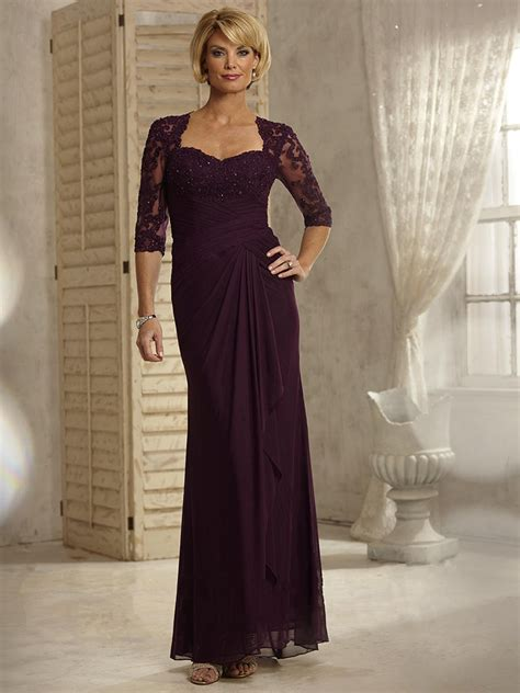 affordable mother of the bride dresses jjshouse affordable 3 4 sleeves lace appliques and chiffon long purple mother of the bride dresses 5701007