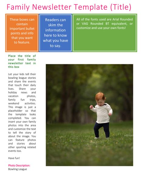 Family Newsletter Template 3 Printable Layouts Family Newsletter Template Microsoft Word