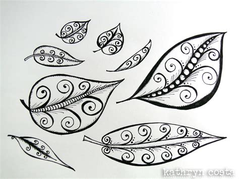 how to draw doodle swirls kathryn costa collage leaf with swirls doodle