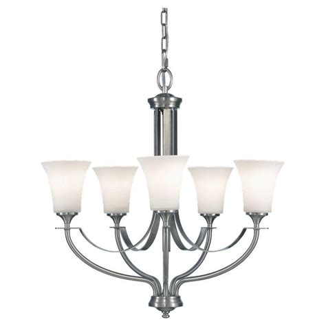 Home Depot Chandelier Shades Feiss Barrington 5 Light Brushed Steel 1 Tier Chandelier Shade F2252 5bs The Home Depot