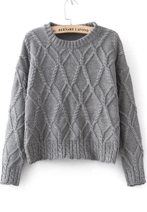 gray knit sweater grey sleeve cable knit sweater shein sheinside