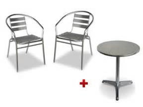 table ronde 2 chaises de jardin en aluminium montmartre
