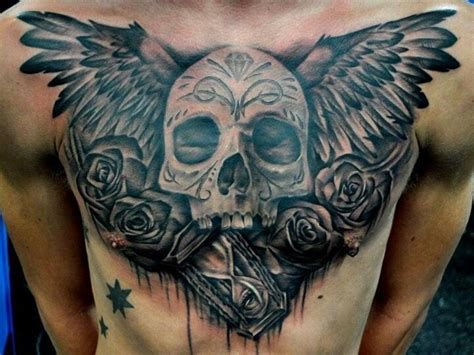 skull with wings tattoo 24 wings tattoos on chest