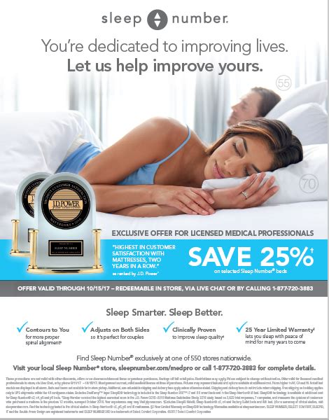 sleep number bed discounts special promotion for licensed medical professionals from
