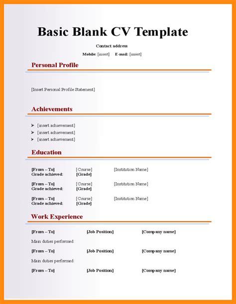 cv format download blank 4 blank cv template download manager resume