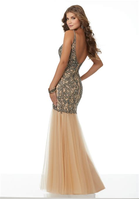 beaded bodice prom dress tulle mermaid prom dress with fully beaded bodice and open