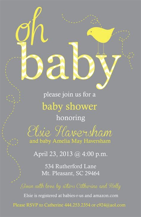Yellow And Grey Baby Shower Invitations yellow and gray baby shower chevron invitation print