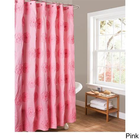 Pink Shower Curtains Lush Decor Embroidered Pink Shower Curtain