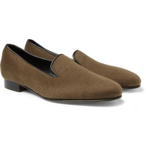 mens albert slippers george cleverley albert leather trimmed slippers