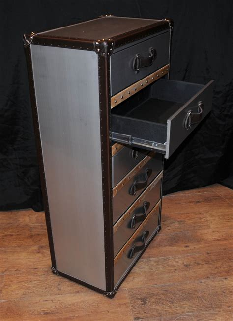 suitcase drawers uk industrial leather chrome chest drawers tall boy luggage