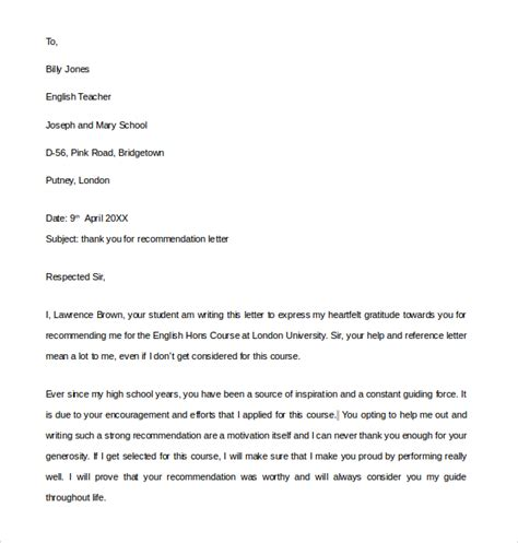 Recommendation Letter Thank You Thank You Letter For Recommendation 9 Free Documents In Pdf Word