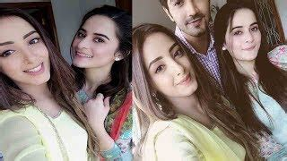 aiman khan and sanam chauhdry on the set of ghar titli ka