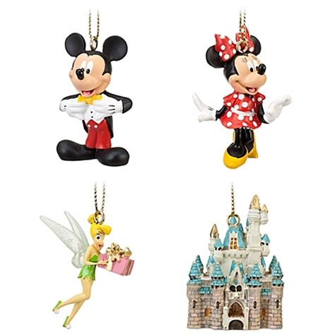 disney 4pc ornament set wdw miniature ornament set 4 pc mickey minnie tink castle