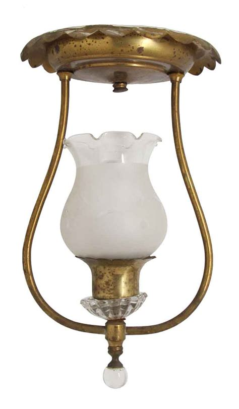 Glass Shade For Ceiling Light Brass Up Light Ceiling Fixture With Glass Shade Olde Things