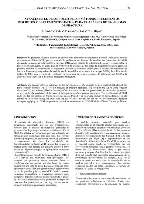 (PDF) Avances en el desarrollo de los métodos de elementos