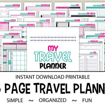 travel planner printable pdf best planner pages pdf products on wanelo