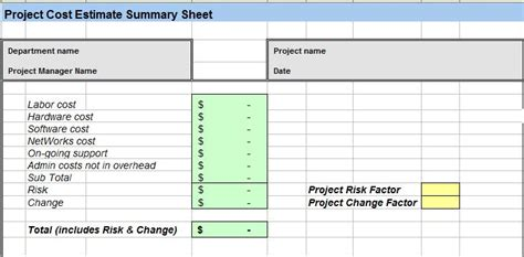 project costs template project cost estimating spreadsheet