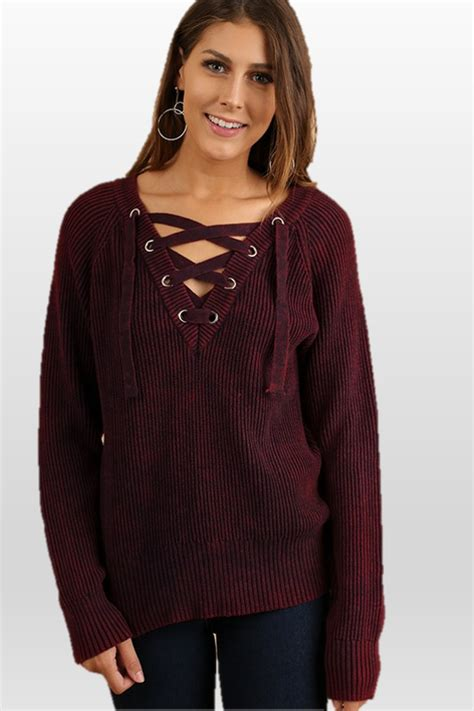 Lace Up Front Sweater umgee wine mineral washed v neck lace up sweater c0650