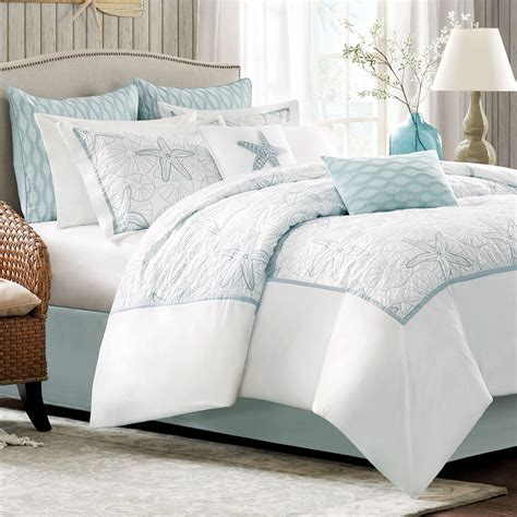 Clarin House White Bedcover Set King Size bay embroidered coastal comforter bedding