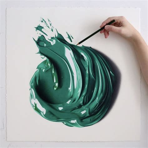 colored drawings dabs of thick paint captured as hyperrealist