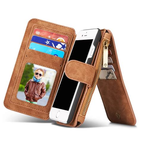 multifunction wallet genuine leather case  iphone   zipper purse pouch  iphone se