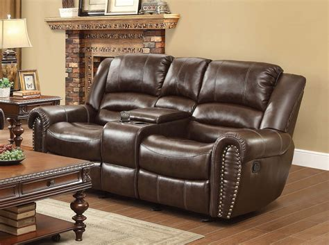 Homelegance Center Hill Double Glider Reclining Love Seat Reclining Sofa With Center Console
